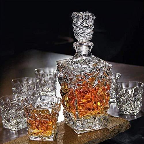 Juego De Decantador De Whisky, Decantador De Whisky De Cristal Sin Plomo Premium De 850 Ml Con 4 Vasos De Degustación De 300 Ml Para Licor O Escocés, Regalo Elegante Único Para Bodas O Aniversarios