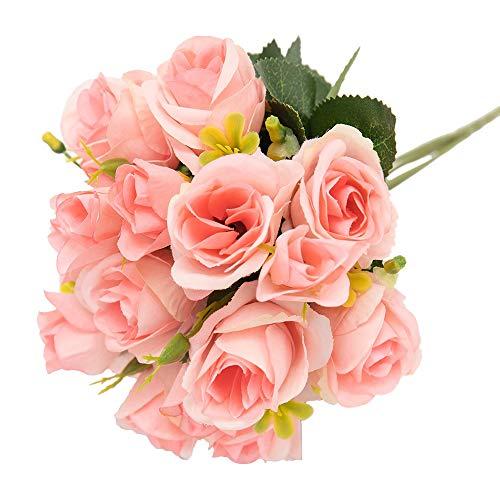 BZT la Flores Artificiales 15 Jefes Falso pequeñas Rosas Ramo Flores Artificiales Flores de Seda...