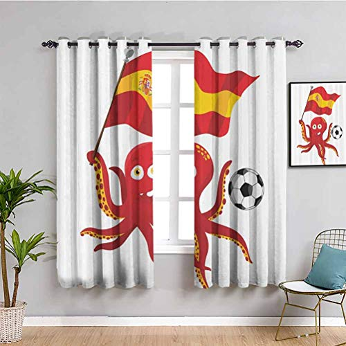 Divertida decoración de pulpo sala de estar cortinas 2 paneles conjuntos habitación oscurecido rojo amarillo blanco W63 x L45 pulgadas