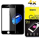 [4 Pack] Khaos for Apple iPhone 8 Plus HD Clear Tempered Glass Screen Protector,3D Full Cover with Lifetime Replacement Warranty -Black