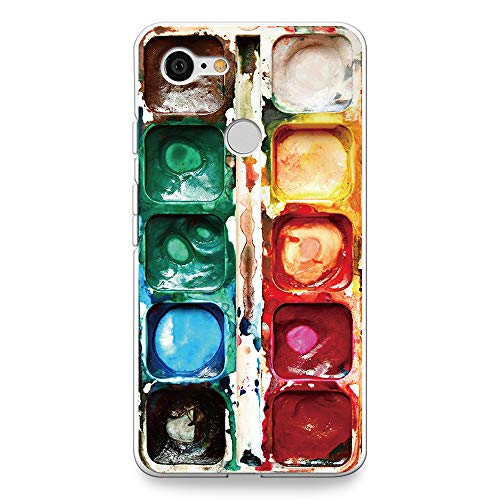 """CasesByLorraine Compatible with Google Pixel 3 Case, [for Men & Women] Watercolor Paint Box Flexible TPU Soft Gel Protective Cover for Google Pixel 3 5.5"""" (2018)"""
