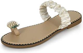 BIBOKAOKE Dames teenslippers sierparels strandsandalen badslippers platte schoenen elegante comfortabele vrijetijdssandale...
