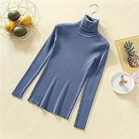 タートルネックセーター女性長袖スリムソリッドニットの女性のプルオーバーのセーター秋冬ジャンパーレディーストップス Ztoyby (Color : Blue, Size : One Size)