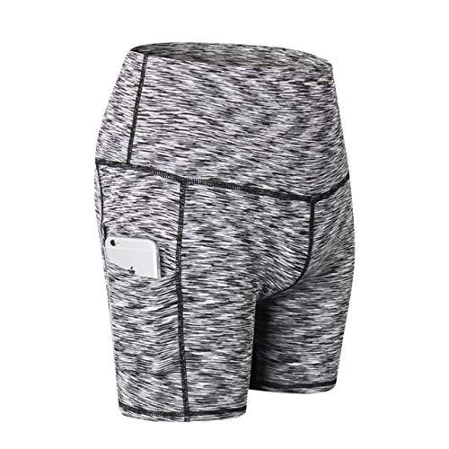 No-Branded WZGGZWGG Frauen Gym Shorts Jogging Laufhose Yoga Shorts Frauen hohe Taillen-Sport Taschen Fitness Yoga Kurze Hose (Color : Schwarz, Size : XXL)