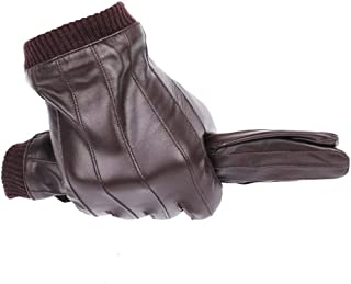Leather Gloves for Men Winter Fashion Gloves Made of Sheepskin can Play Touch Screen (Color : Brown, Gloves Size : L Suit plam22 23.cm)