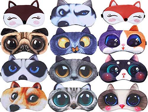 12 Pack Cute Animal Funny Sleep Eye Mask for Sleeping Cat Dog Soft Plush Blindfold Sleep Masks Eye Cover Eyeshade for Kids Girls Men Women Plane Travel Nap Night Sleeping (8 Pack)