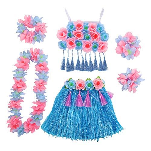 Amosfun Hawaii Tropical Performance Kostüm Hula Grass Tanzrock Blume Armbänder Head Loop Neck Kranz Set - Blau
