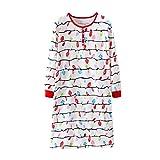 AIMEE7 Vêtements de Nuit Femmes Chemise de Nuit Coton Manches Longues Pyjama Grande Taille Nuisette Chic Robe(Blanc)