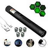 LIANGJING Portable LED Green Tactical Flashlight,Hand-Held High-Power USB Charging with Five Visible Green Laser Patterns,Which is Suitable for Parties, Outdoor Activities and Indoor Entertainment