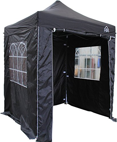 All Seasons Gazebos, Choice Of 5 Colours, 2x2m Heavy Duty, Fully Waterproof, Premium Pop Up Gazebo With 4 x Zip Up Side Panels, Carry Bag With Wheels and 4 x leg weight bags (Black)