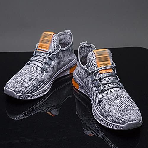 Fnho Calzado para Correr por Carretera,Zapatos de Gimnasia Zapatos Ligeros,Calzado Casual de Hombre, Zapatillas Deportivas de Tendencia-Gris_42