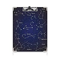 キングジム:クリップボード カラー A4判タテ型 星座 会議資料など挟 星座クラスターと記号名のセットのように書かれた落書きチョークブルーダークブルーホワイト