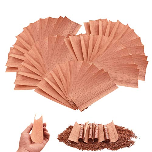 QBOSO 50PC Cedar Sheets for Cigars Humidor, A Must Choice forDividing orLighting Up Cigars, Spanish Cedar Wood Veneer Lumber Strip Chip, Cigar Accessories for TubeJar/Box