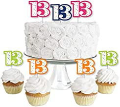 13th Birthday - Cheerful Happy Birthday - Dessert Cupcake Toppers - Colorful Thirteenth Birthday Party Clear Treat Picks - Set of 24