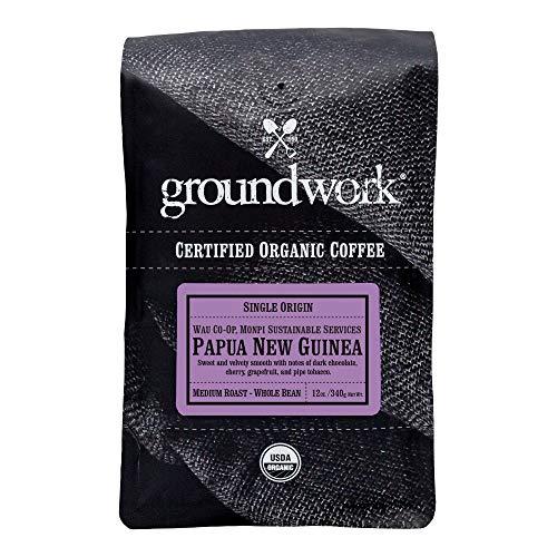 Groundwork Organic Single Origin Whole Bean Medium Roast Coffee, Papua New Guinea, 12 oz Bag