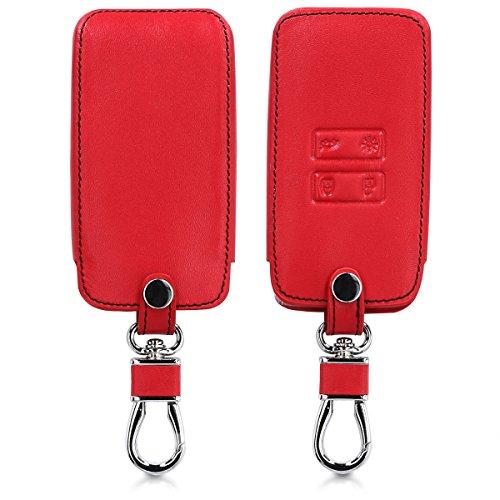kwmobile Carcasa Compatible con Renault Llave de Coche Smart Key de 4 Botones (Solo Keyless Go) - Funda de Cuero sintético - Case para Mando Control de Auto Rojo