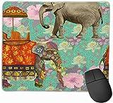 Alfombrilla de ratón para juegos de elefantes y flores de acuarela, alfombrilla de ratón antideslizante personalizada de goma natural con estrella de mar rosa para regalo de ordenador portátil