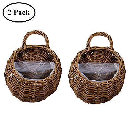 colgando macetero cesta montada a mano tejida de mimbre maceta titular de la planta de ratán florero contenedor decoración de la oficina en el hogar, conjunto de 2