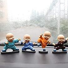 KINGZHUO Baby Buddhas Resin Crafts Ornament Little Monks Figurine Automotive Cute Kongfu Monk Car Interior Display Decoration Car Dashboard Ornament Car Home Decor 4 Pcs (8 x 5 cm)
