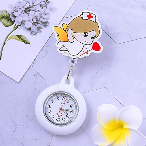 dihui Reloj Médico de Cuarzo,Reloj de Bolsillo médico Luminoso, Reloj de Bolsillo Impermeable con Clip retráctil-Camel,Reloj de Bolsillo para Enfermera