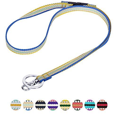 Blueberry Pet 3M Reflektor Bunte Streifen Ingwer und Blau Herren Damen Mode Anti-Würge Umhängeband Lanyard Schlüsselband für Schlüssel/Ausweis/Anhänger mit Sicherheits-'Breakaway'-Schnalle