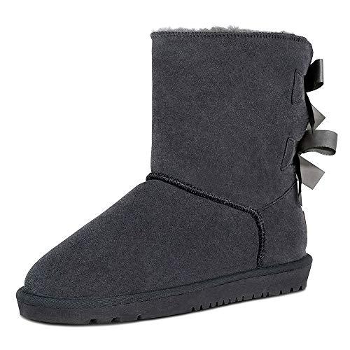 TF STAR Sheepskin Fur Lining Winter Warm Boots for Women & Ladies, Women's Mid Calf Leather Short...
