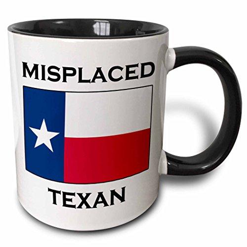 3dRose Misplaced Texan. - Two Tone Black Mug, 11oz (mug_193347_4), 11 oz, Black/White