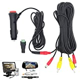 Royitay 12V/24V Super Thin 4 Pin Cigarette Lighter Power Supply Kit for Car Rear View Camera and LCD Monitor with RCA Connection cable extension for Backup Camera
