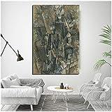 nr Pablo Picasso Mann mit Einer Klarinette Wandkunst Leinwand Malerei Poster druckt Malerei Wandbild für Wohnzimmer Wohnkultur -60x90cm ohne Rahmen
