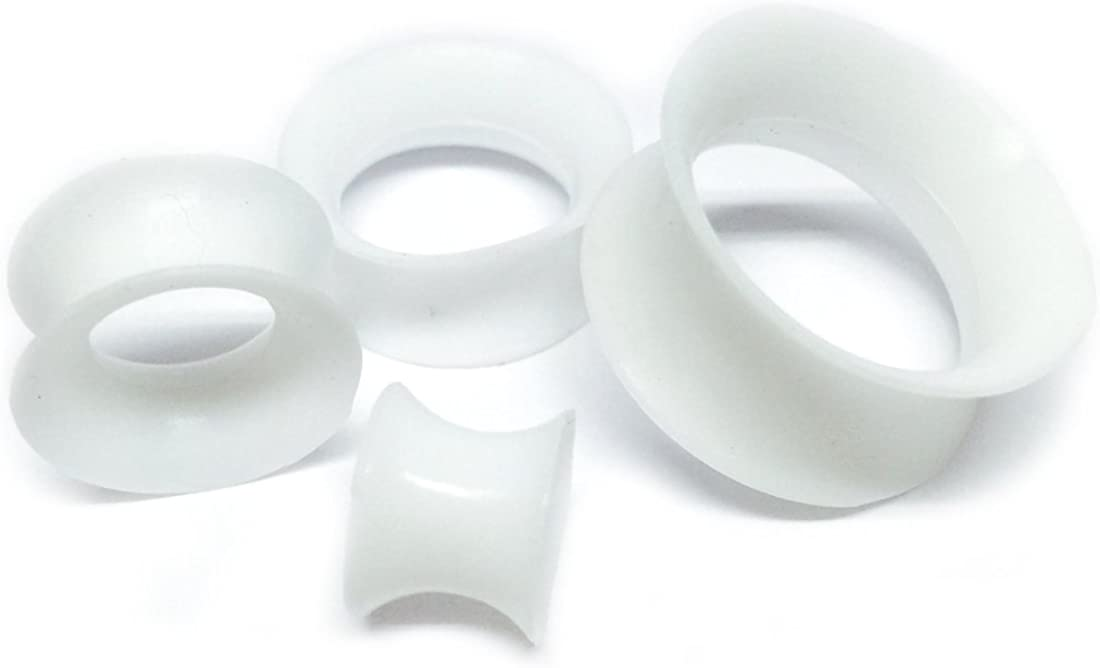 Mystic Metals Body Jewelry Thin Walled White Silicone Tunnels - 7/8