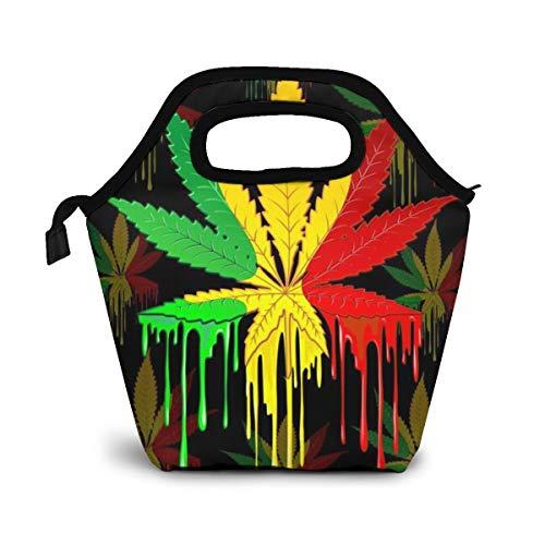 NiWCGP Buntes Unkraut-Malen Isolierte Lunch Tasche Lunch-Boxen Handtasche mit Reißverschluss für Outdoor Picknick Frauen Kinder