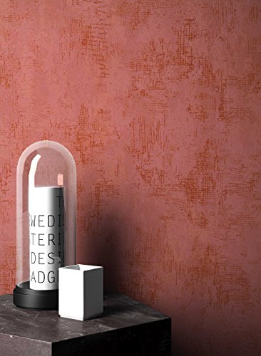 NEWROOM Tapete grafisch Rot Unifarbe Struktur Uni Vliestapete Kupfer Vlies Einfarbig Unifarben inkl. Tapezier Ratgeber ǀ Grafik