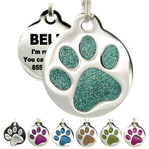 Engraved Pet Tag for Dogs & Cats - Personalized with 4 Lines of Custom Engraved ID, Round Paw Print Stainless Steel Enameled in 6 Colors: Ocean Blue, Aquamarine, Deep Pink, Magenta, Pale Green, Amber