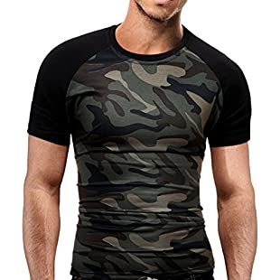 "Camo T-Shirts Men's Slim Fit T Shirt Military Camouflage O-Neck Short-Sleeved Tees Casual Army Style Top (L(Bust100cm/39.37""), Camouflage):Maskedking"