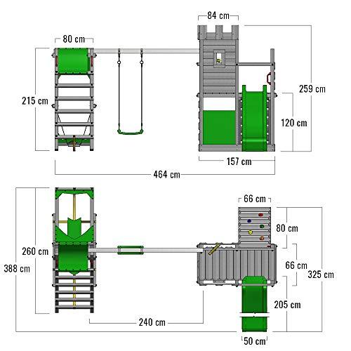 FATMOOSE Spielturm Ritterburg BoldBaron mit Schaukel, SurfSwing & apfelgrüner Rutsche, Spielhaus mit Sandkasten, Leiter & Spiel-Zubehör - 5