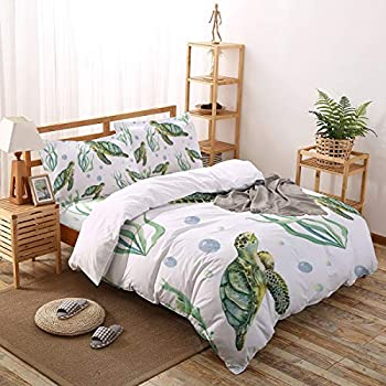 MuswannaA 4 Pieces Duvet Cover Luxury Soft Bedding Set Ocean Blue Teal Sea Turtle Beach Comforter Cover with 1 Duvet Cover 1 Flat Sheet and 2 Pillowcase Queen Size