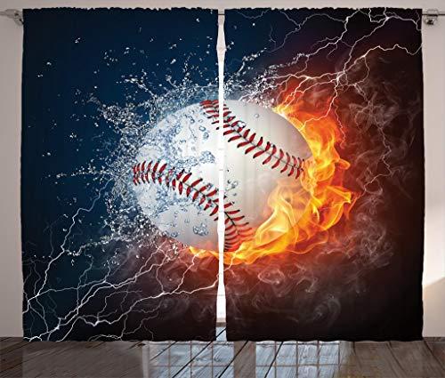 Ambesonne Sports Curtains, Baseball Ball on Fire and Water Flame Splashing Thunder Creative Art, Living Room Bedroom Window Drapes 2 Panel Set, 108 X 84, Blue Burgundy