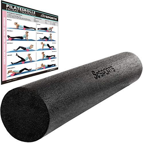 ScSPORTS Pilatesrolle, Gymnastikrolle, Faszienrolle, Schaumstoff, Schwarz, 15 x 90 cm
