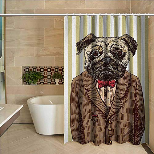 Fabric Shower Curtain Pug Hand Drawn Sketch of Smart Dressed Dog Jacket Shirt Bow Suit Striped Background Brown Pale Brown W72 xL84