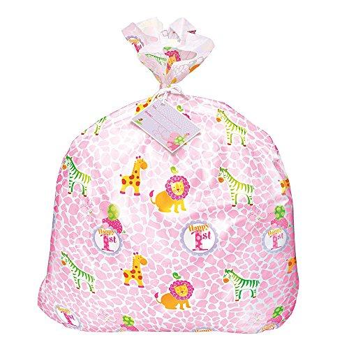 Jumbo Plastic Pink Safari First Birthday Gift Bag