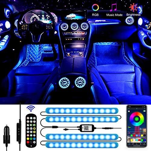 LED Innenbeleuchtung Auto, Aimocar 4pcs 48 LED Strip auto wasserdicht Atmosphäre Licht Mehrfarbiger Musik RGB Auto Fußraumbeleuchtung Strip Kit mit APP Fernbedienung USB und Zigarettenanzünder DC 12V