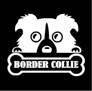Wwwx 2Pcsanimal Border Collie Bone Cute Car Stickers White 13.5Cm*11Cm
