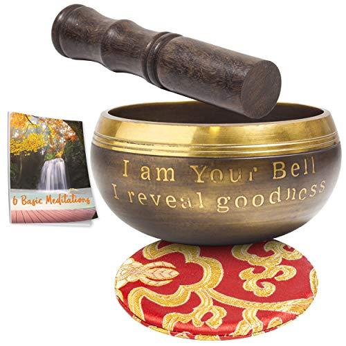 Cuenco Tibetano para Meditación - Con mazo y cojín de seda - Con eBook de 6 Meditaciones...