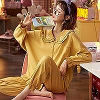 春秋パジャマ 2 ピースセット女性の綿のパジャマかわいい人形の襟ホームウェアパジャマかわいい漫画パジャマ-M