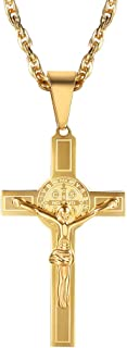 Jesus Cross Necklace, Stainless Steel, Black/Blue/Rose Gold/18K Gold Plated, Religious Crucifix Christain Jewelry, Womens Mens Jewelry