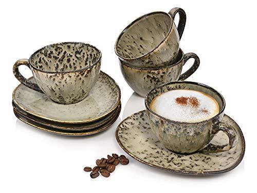Sänger Kaffeetassen Set Pompei aus Porzellan 8 TLG -Füllmenge 300 ml -Tassen und Untertassen im Vintage Design -ServierSet imnaturorienteirenDesign bestehend ausUntertassenundTassen