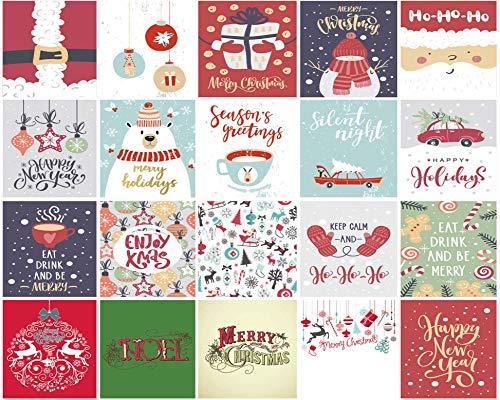 20 Weihnachtskarten Mit Umschlag 15x15 cm – Ideal Als Weihnachtskarte Für Männer, Frauen, Kinder Und Erwachsene – Klappkarten Mit Lustigen Weihnachtssprüchen - Hochwertiger Druck Auf 300 G/M² Papier