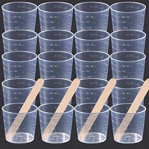36 Pack 60ml/2 oz Clear Graduated Plastic Cups Measuring Cups with 100 Pack Wood Stir Sticks for Mixing Paint, Stain, Epoxy, Resin