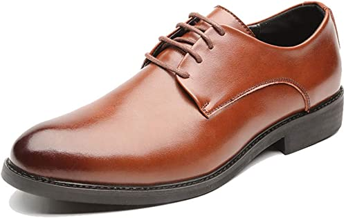 DINGGUANGHE-schuhe Lackleder Stilvolle Bequeme Business Oxford Casual Fashion Classic Solid Farbe Gentleman Style Formale Schuhe Abendgarderobe Dress Schuhe (Farbe   Braun, Größe   39 EU)