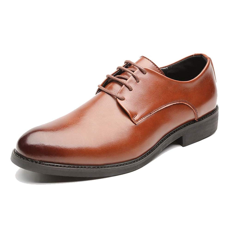 男士革靴 靴 男性 フォーマルシューズ ビジネス オックスフォード カジュアル ファッション クラシック ソリッドカラー シューズ 個性な (Color : 褐色, サイズ : 26.5 CM)